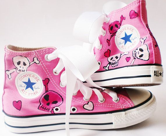 947f9e3b94b3 Painted Converse High Tops Pink Skulls Skullie by dreaminbohemian