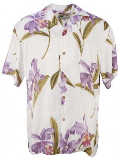 Orchid Mens Hawaiian Aloha Shirt in White