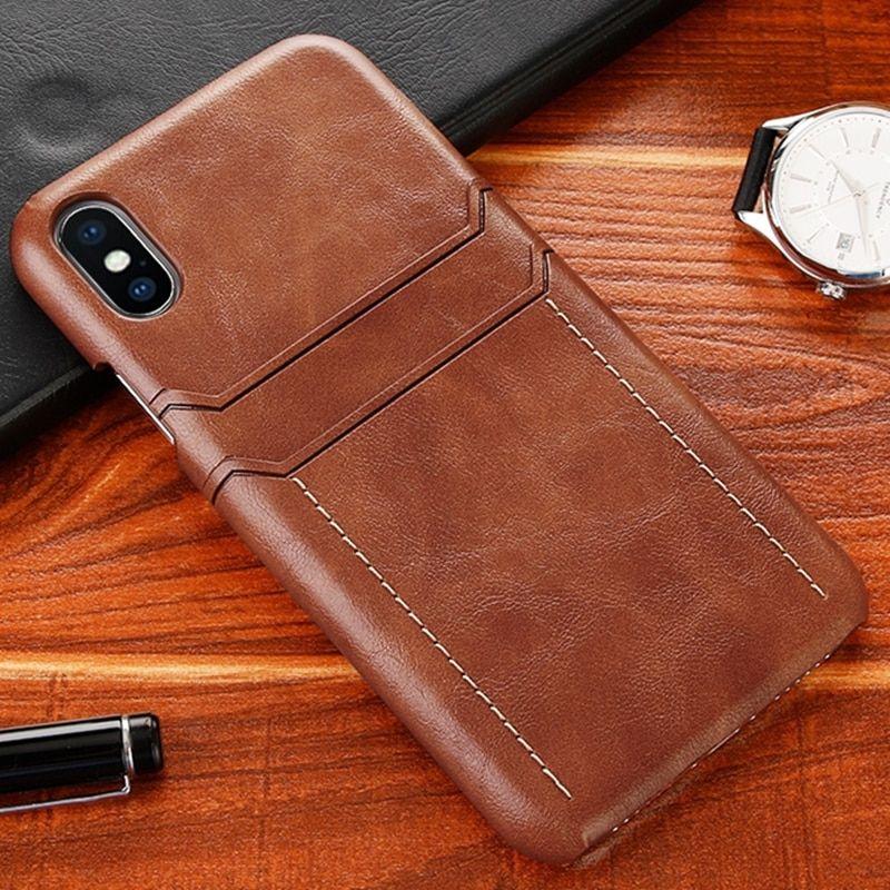 Funda para iPhone XR Funda de cuero de lujo Vintage funda de piel