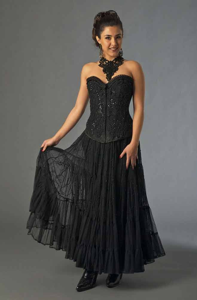dramatic black lace applique bustier outfit western wear