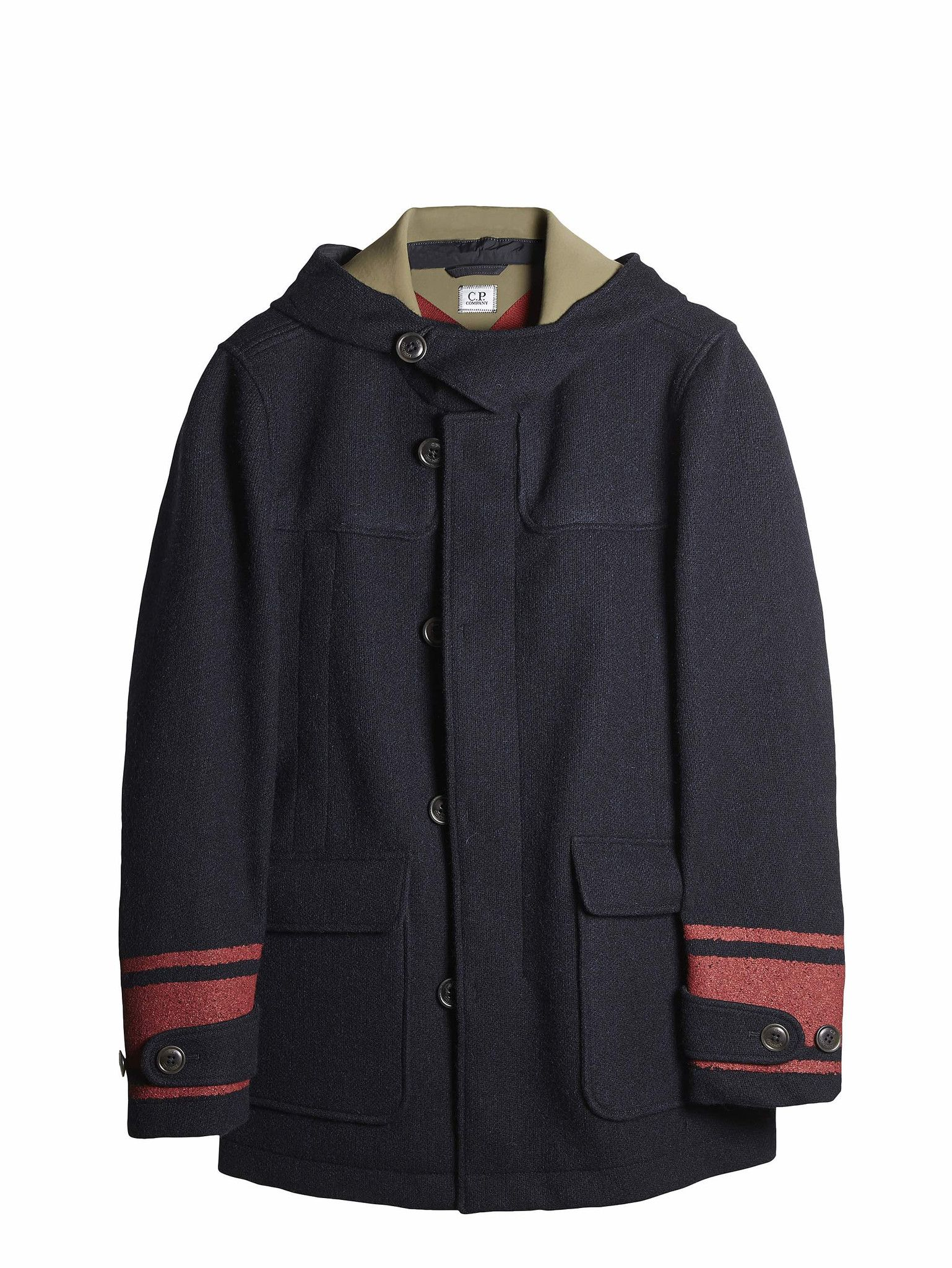C.P. Company Shetland SL Wool Duffle Coat in Navy Blue | Tex_Lana ...