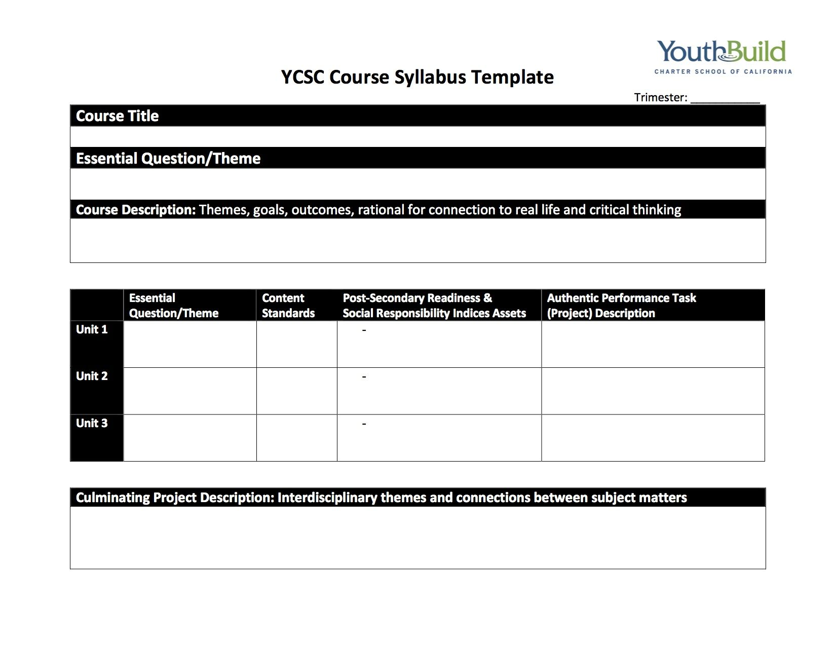 youthbuildcharter course syllabus template ycsc pbl template