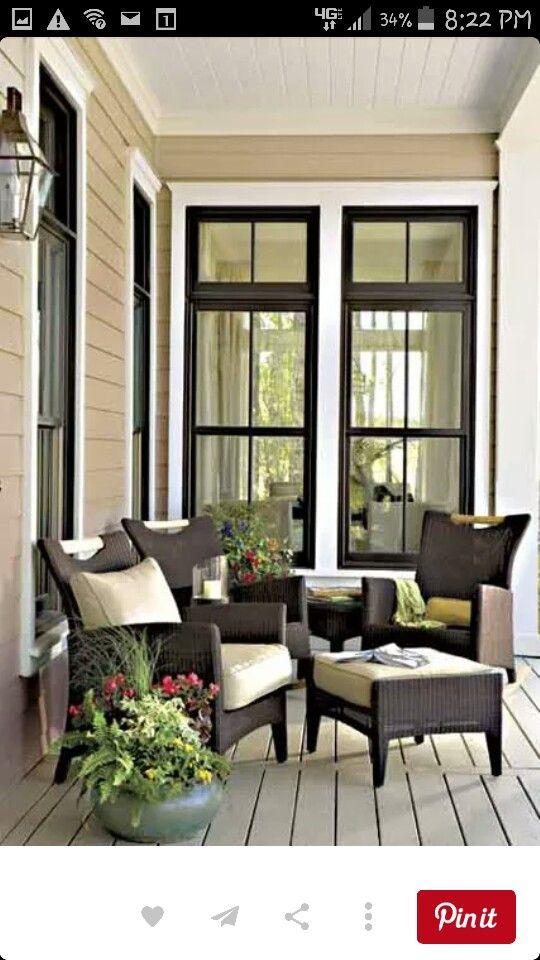 Tan Siding With Black Windows Brown House Exterior White