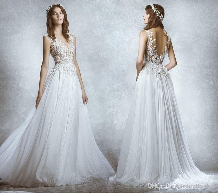2016 Zuhair Murad Illusion Back Wedding Dresses Sheer Neck Lace ...