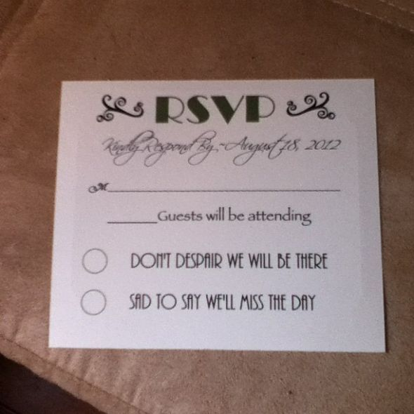 Cute simple rsvp cards wedding stuff pinterest rsvp for Rsvp stand for on an invitation