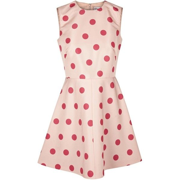 RED Valentino Blush Pink Polka Dot Faille Mini Dress (525 BRL) ❤ liked on Polyvore featuring dresses, pink, mini dress, short dresses, pink day dress, flared skirt and polka dot circle skirt