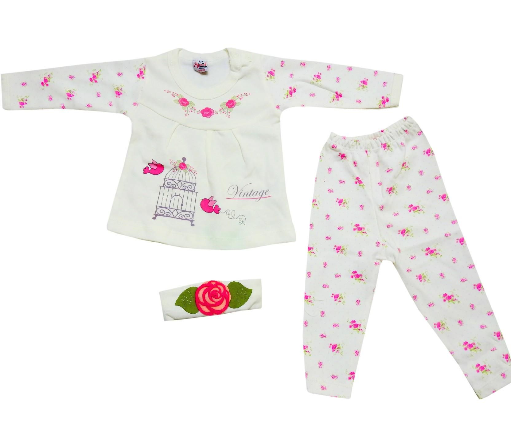 wholesale flower embroidery sweat and trouser with headband 6