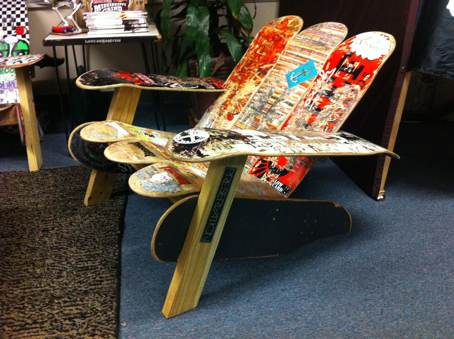 I've had the idea to make an Adirondack chair out of old skateboards since
