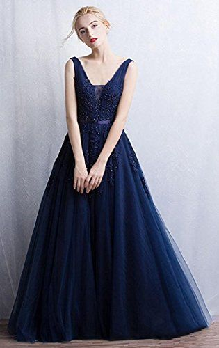 168da380b Amazon.com  Babyonline Women s Double V-neck Tulle Appliques Long Evening  Cocktail Gowns  Clothing