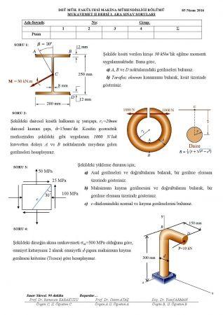 Mukavemet 2 Vize Sorulari Ve Cozumleri 2016 Fizik Makine Muhendisligi Egitim
