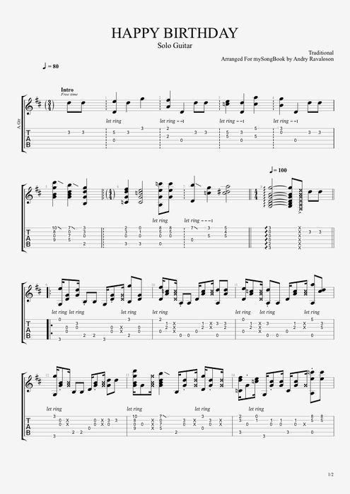 Traditional Happy Birthday Guitar sheet music & tab | Guitar ...