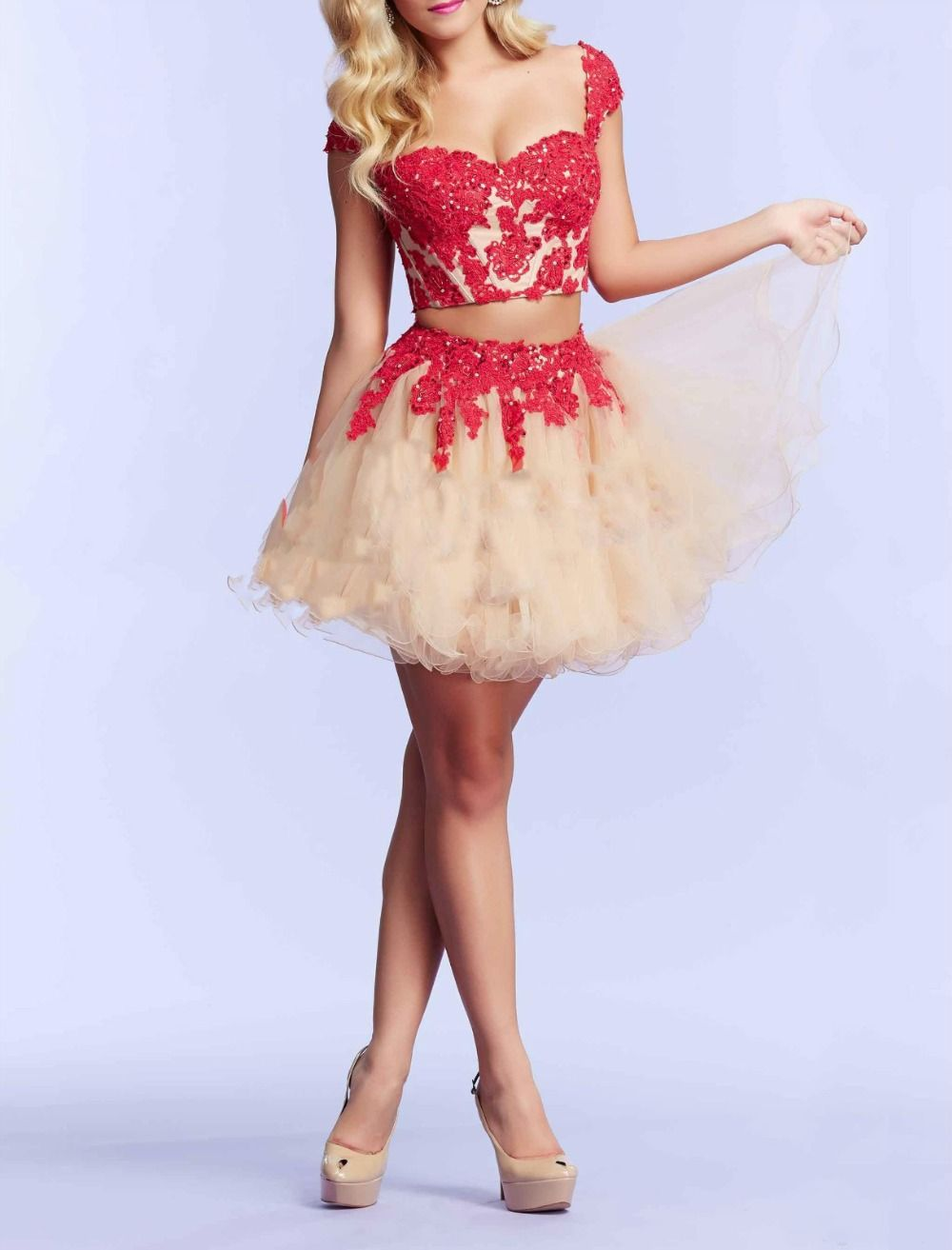 Hot sale cap sleeve new sweetheart appliqued a line lace blackred