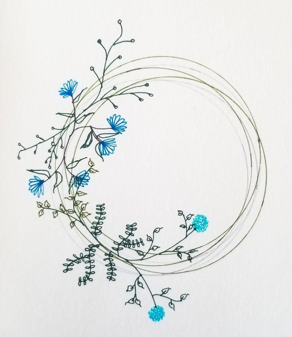 Doodle De Corona Floral Realmente Disfrute Estos Garabatos Florales Wreath Drawing Floral Doodle Bullet Journal Art