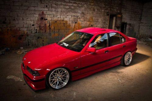 Red E36bmw Sedan Bmw Bmw E36 Bmw Cars