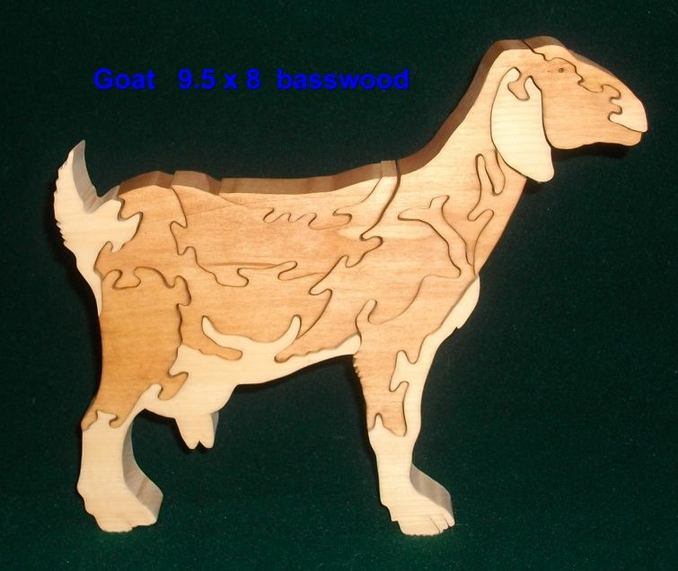 Goat freestanding wooden puzzle 9.5x8x1 Made from basswood w/2 tone stain. My design for Susan who wanted it for a gift. $18 + shipping