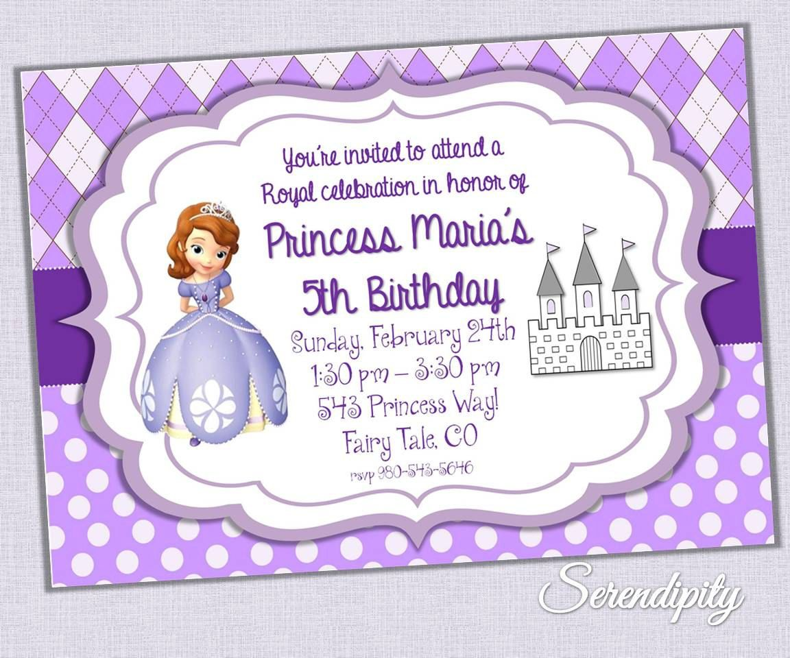 Sofia the First Birthday Invitation, Princess Sofia Invitation ...