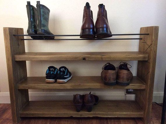 Shoe Rack Rustic Decor Reclaimed Wood Wood Shoe Rack Boot