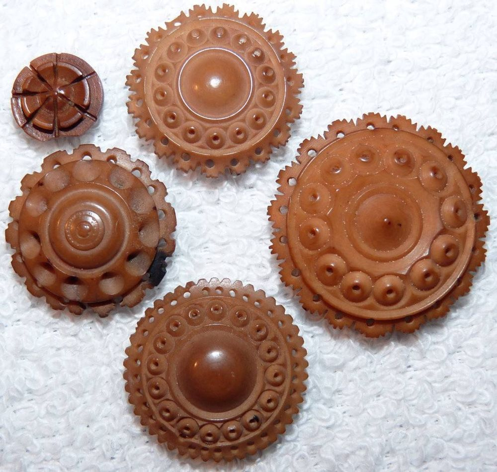 5 Antique Highly Carved Lacey Vegetable Ivory Buttons