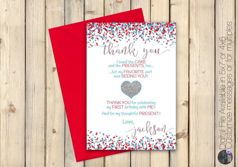 Little Valentine, Red Blue Aqua Silver Valentine\'s Thank You Note ...