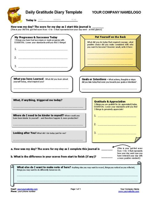 Daily Gratitude Diary Template Prompts, Therapy worksheets and - daily note template