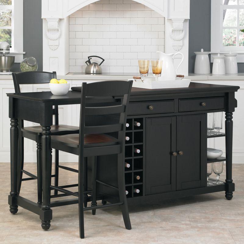 Home Styles Grand Torino Kitchen Island Two Stools 5012 948 Homestyles Kitchen Island With Seating Stools For Kitchen Island Black Kitchen Island