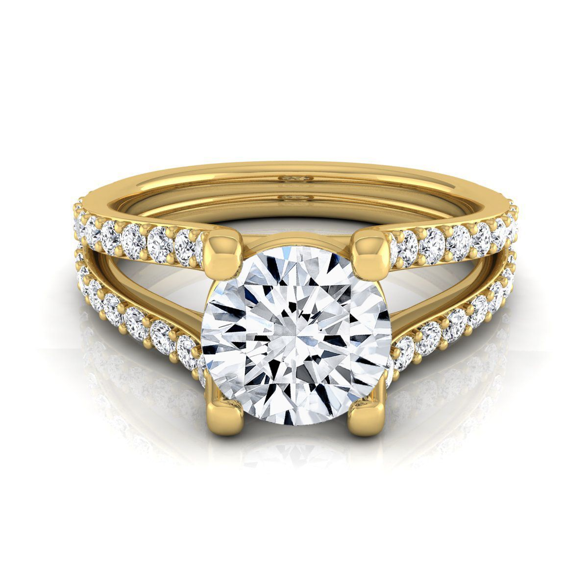 K yellow gold ct tdw round diamond pave engagement ring hi
