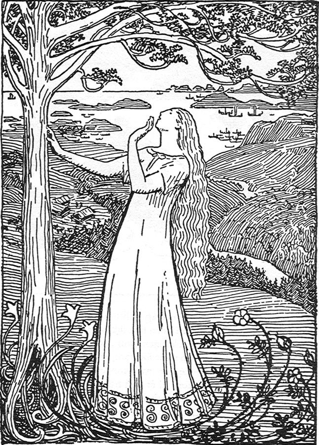 """""""Queen Ragnhild's Dream"""" is an illustration from an ancient sagabook about Norwegian kings made by Snorri Sturluson. She had a dream about a tree growing so big that the branches spread all over the country and even longer."""