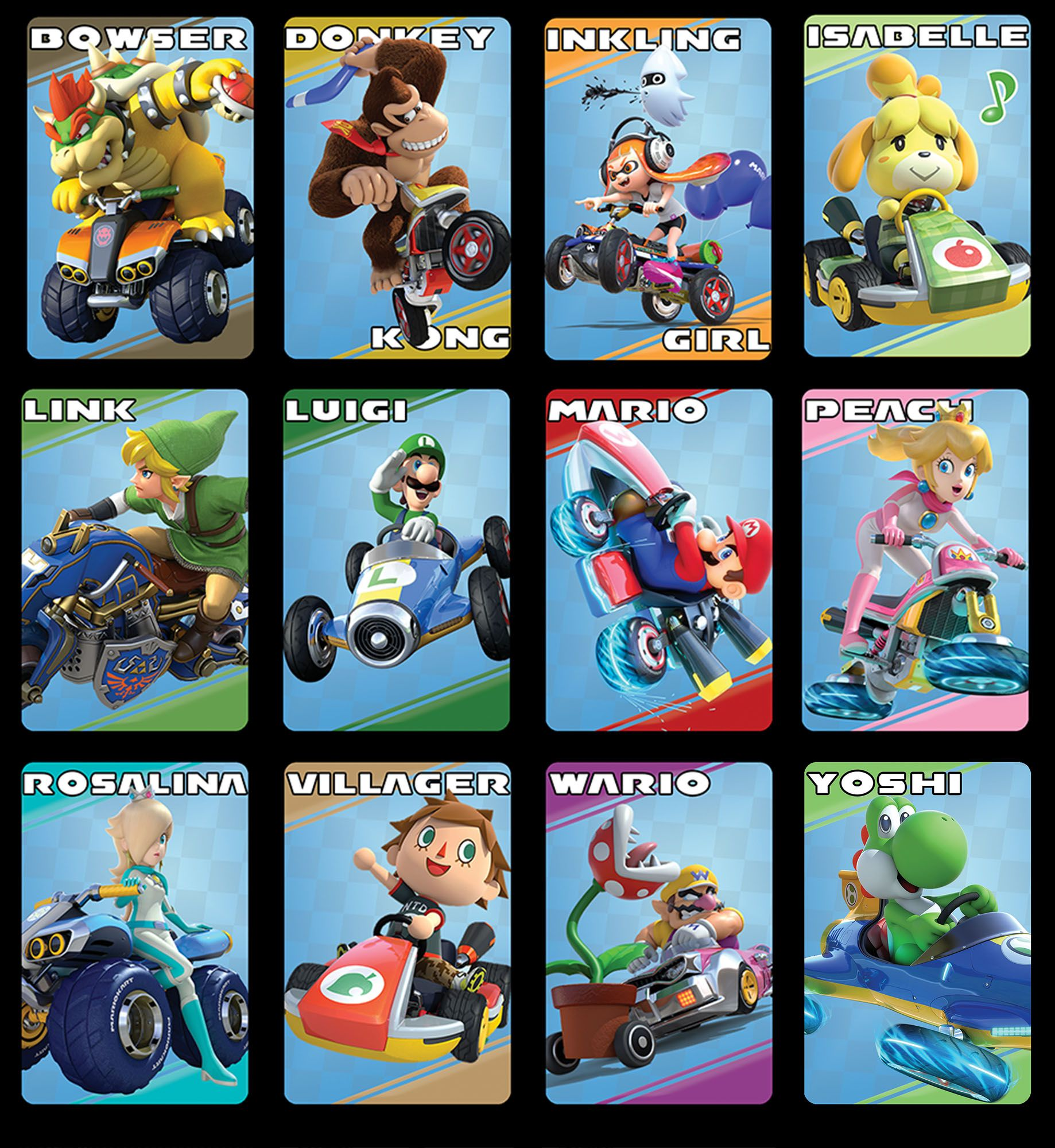 Mario Kart 8 Deluxe Character Amiibo Cards Singles Or Set Topamiibocard Amiibo Mario Kart Characters Mario Kart