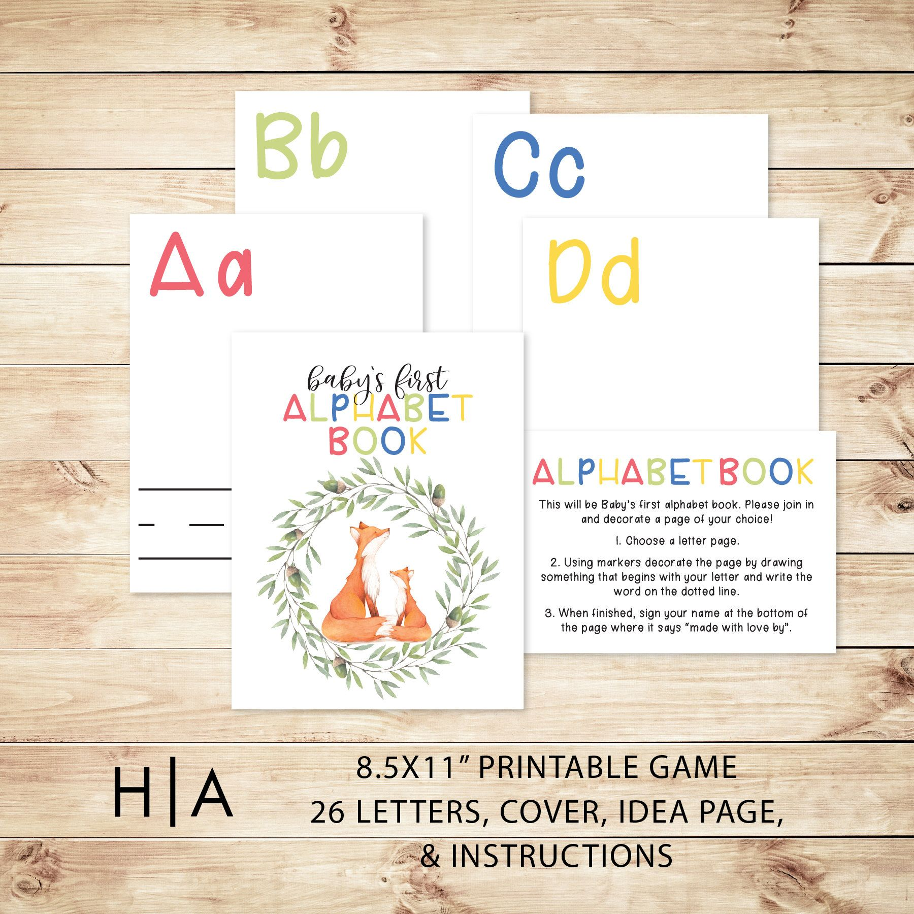 85x11 Alphabet Game Baby Shower Game Fox Theme In 2018 The Art