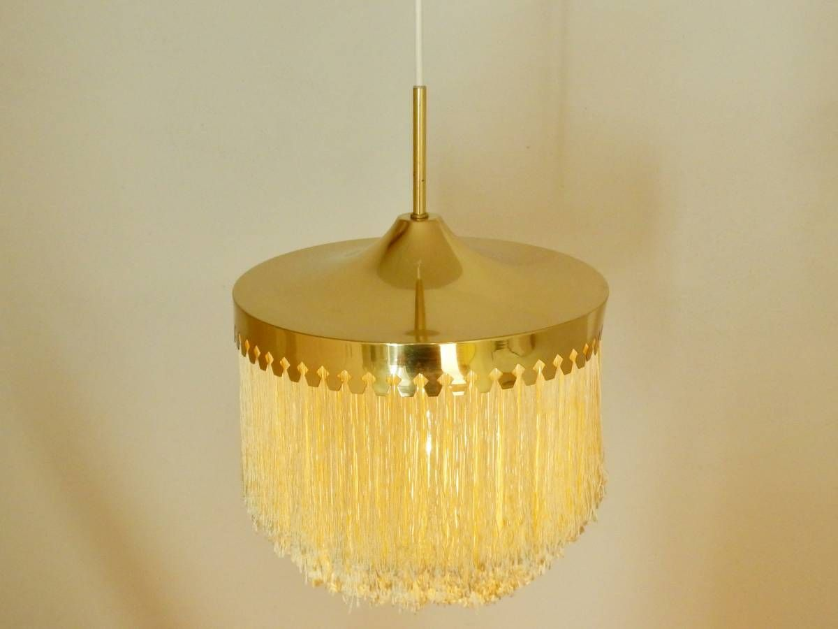 Pendant lamp by hans agne jakobsson with silk fringes sweden
