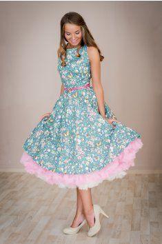 Retro šaty 50.léta kolová sukně motýli květiny květované šaty spodnička  modrá modré šaty léto pásek handmade ruční výroba česká výroba svatba  romantika ... 1d8391b3ff