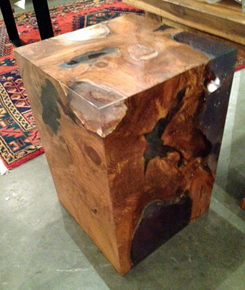 A Side Table Or Stool Made From Reclaimed Old Growth Teak Tree Trunk  Section And Clear Resin. Custom Sizes Available! From Impact Imports Of  Boise ...