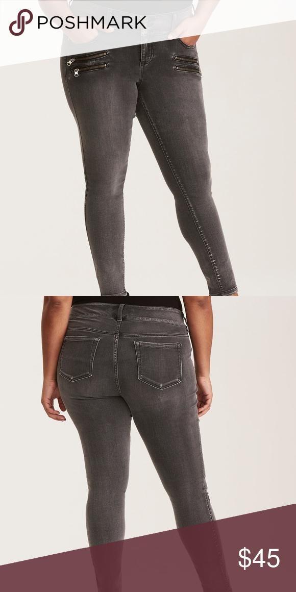 a1d6fc21544 Torrid women plus size 22 jeans stretch high rise Torrid women plus size 22  jeans premium stretch zip jegging grey wash high rise