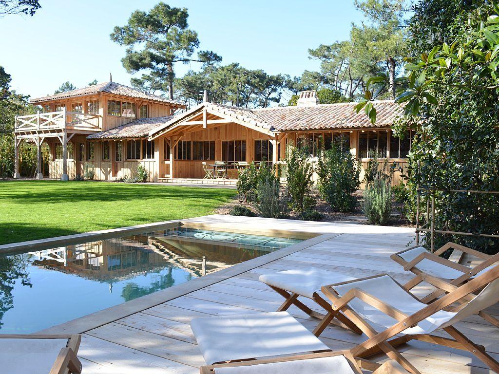 Cap ferret villa rental maison lac pinterest bioclimatique cap ferret - Maison bois cap ferret ...