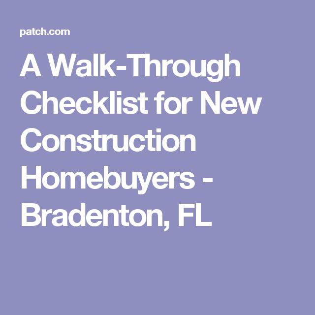 A Walk Through Checklist For New
