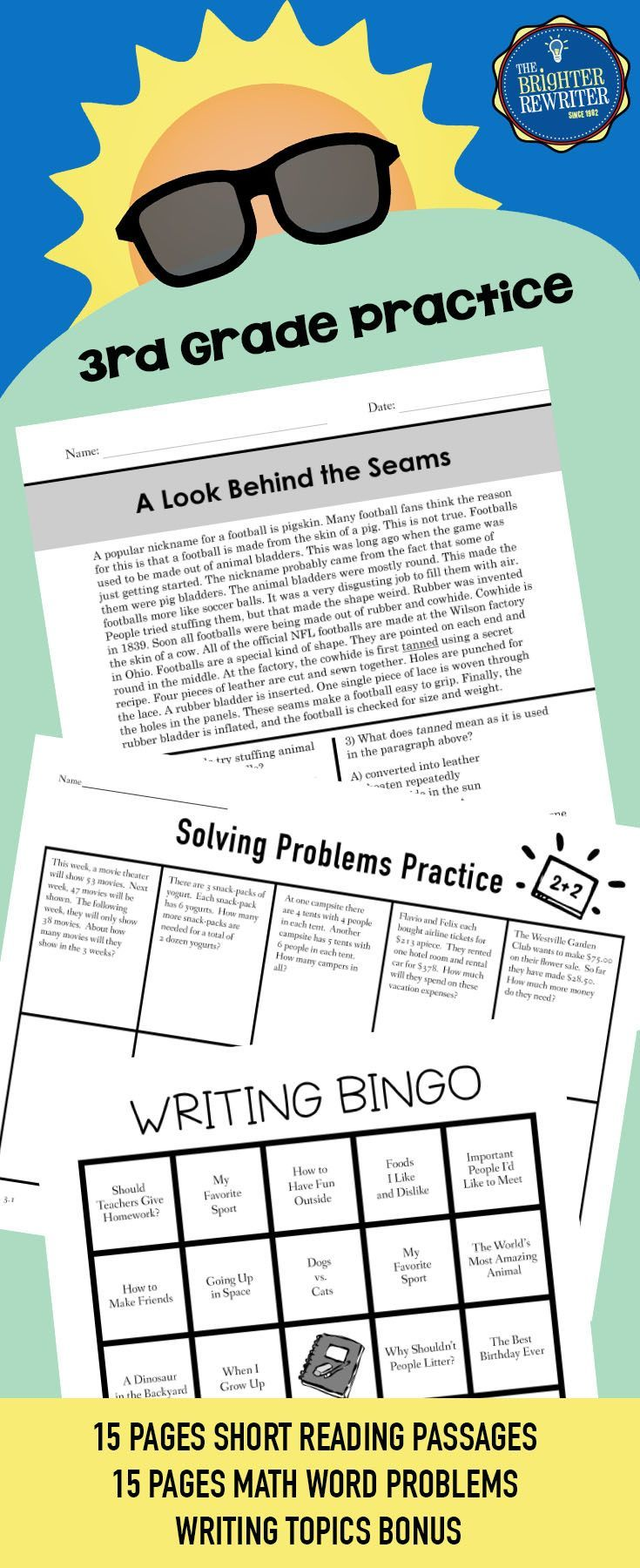 Summer Packet for 3rd Grade | Reading passages, Bingo games and Math