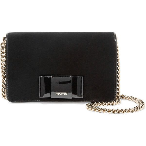 7487d4f9e834 Miu Miu Patent leather-trimmed velvet shoulder bag ( 895) ❤ liked on  Polyvore featuring bags