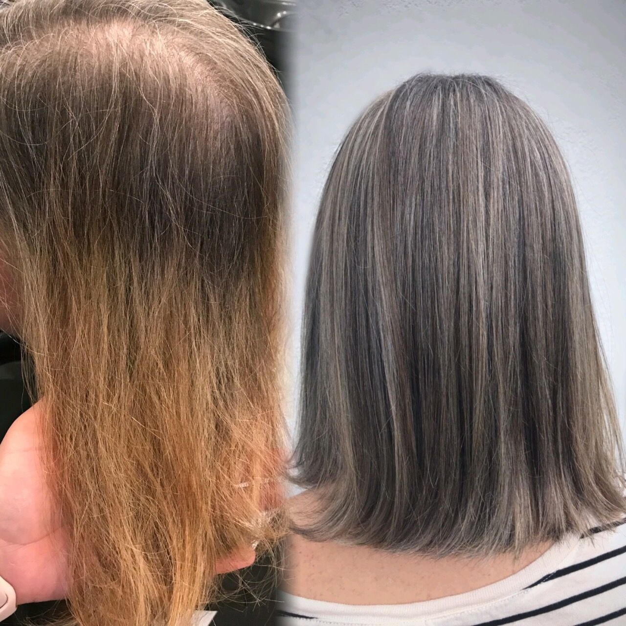 hair blending gray
