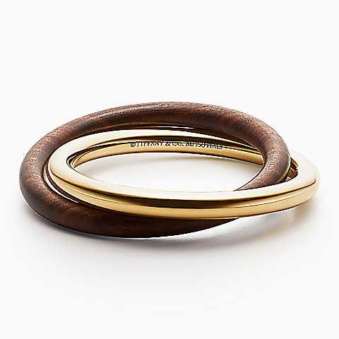 Pulseira Interlocking Out of Retirement em ouro 18k e madeira, média.