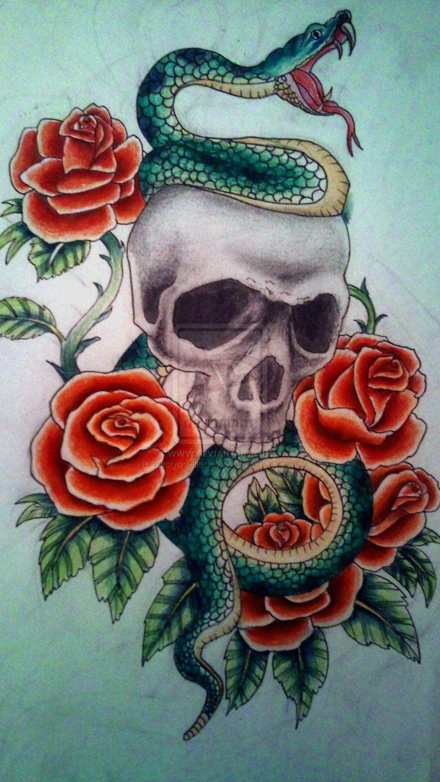 Snake Skull Tattoo: Skull And Snake Tattoo By Kirstynoelledavies.deviantart