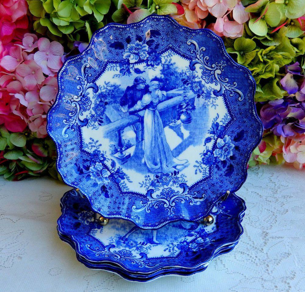4 Antique Royal Doulton Dark Flow Blue Porcelain Plates Shakespeare Romeo Juliet #RoyalDoulton  sc 1 st  Pinterest & 4 Antique Royal Doulton Dark Flow Blue Porcelain Plates Shakespeare ...