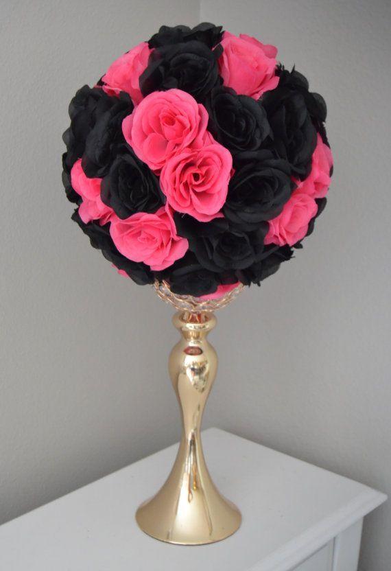 FUCHSIA / HOT Pink And BLACK Flower Ball, Wedding Centerpiece ...