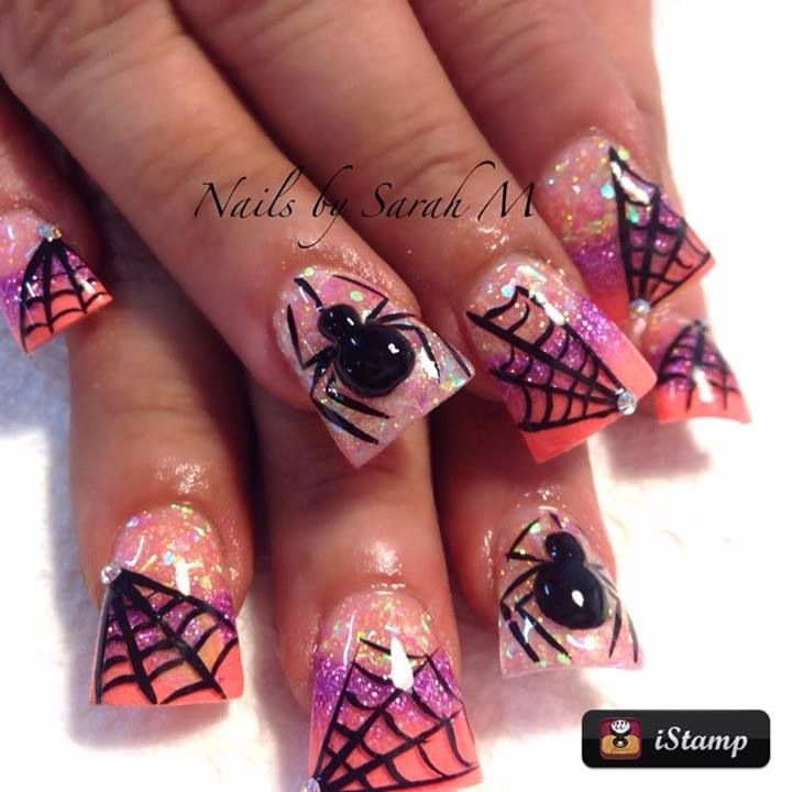 Halloween acrylic nails | Nails By Sarah | Pinterest ...
