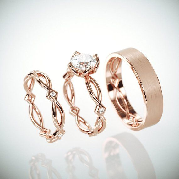 Rose Gold Domed Polished Tungsten Wedding Rings Set Wedding Rings Sets His And Hers Tungsten Wedding Bands Wedding Ring Bands