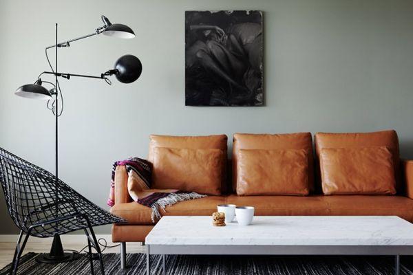 Tan leather sofa by sososimps | interiors | Pinterest