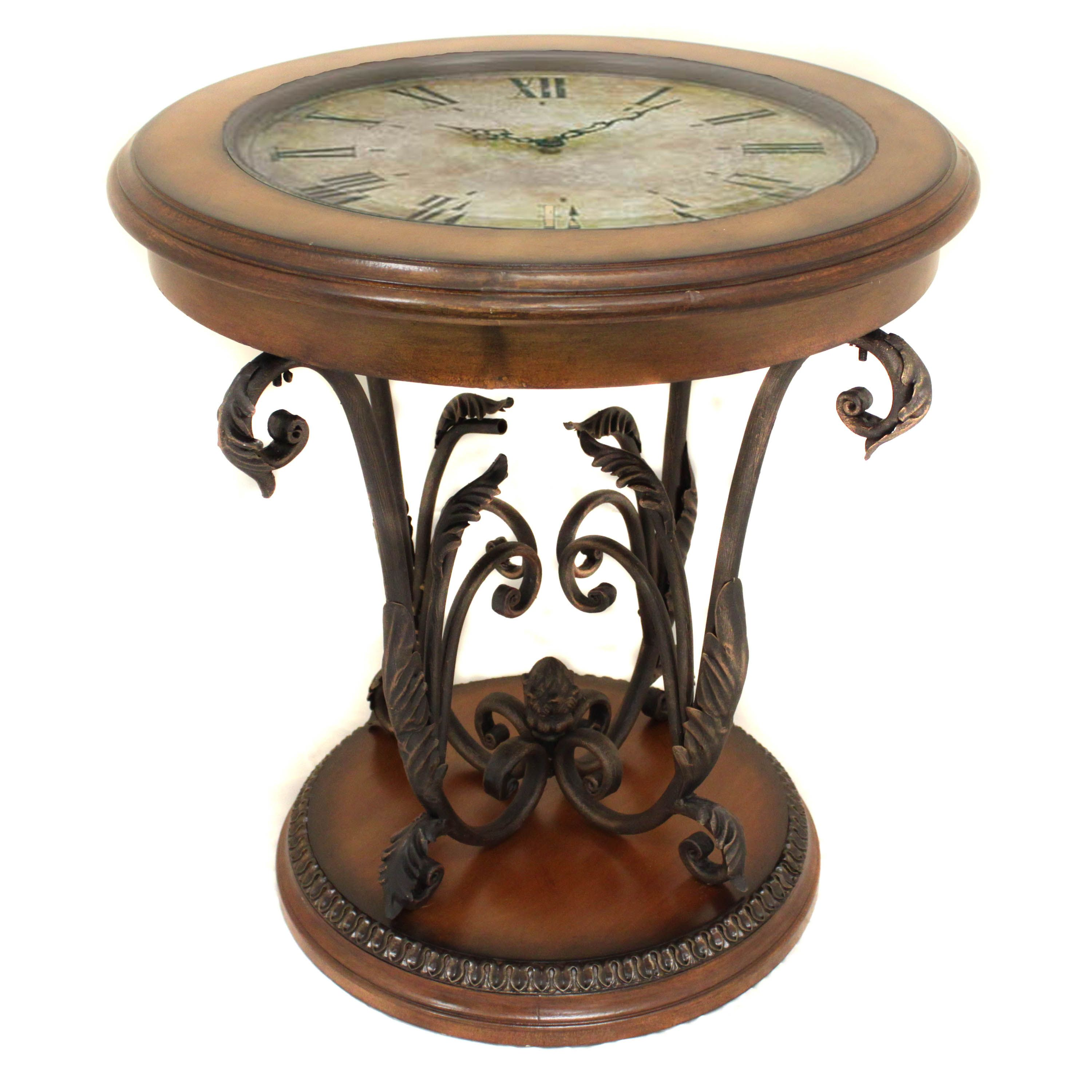 This Unique Metal And Wood End Table Features A Working Clock Underneath The Tempered Gl Top Scrolled Stand Provides Intricate Details Which