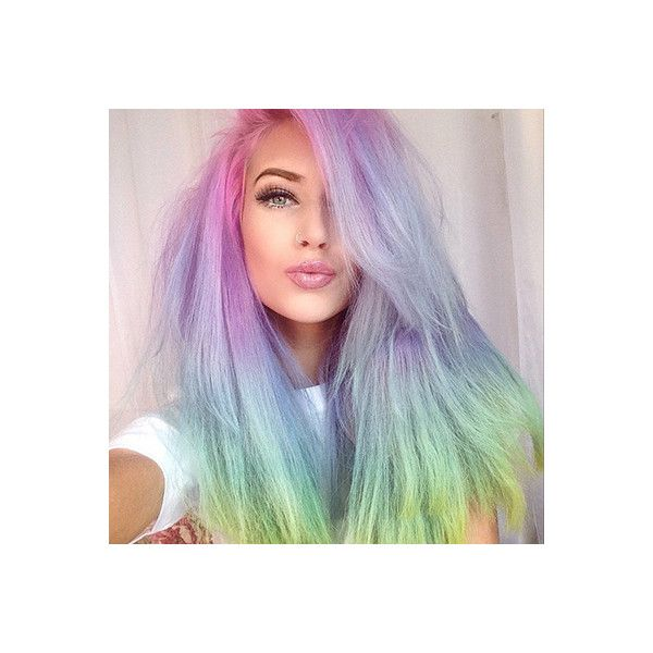 It Only Takes 20 Minutes to Create #RainbowHair ❤ liked on Polyvore featuring beauty products, haircare, hair, rainbow hair, beauty, makeup and people
