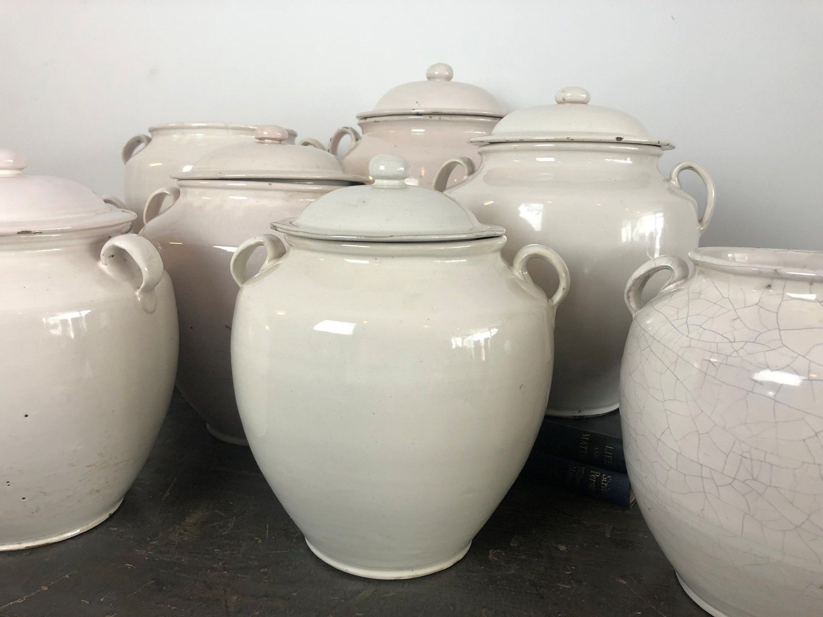 Everyone Loves A Collection Of Something As Groups Of Objects Look Great As Displays This Set Of 9 Antique Off White Confit Pots From Hv Member Franklin And Ha