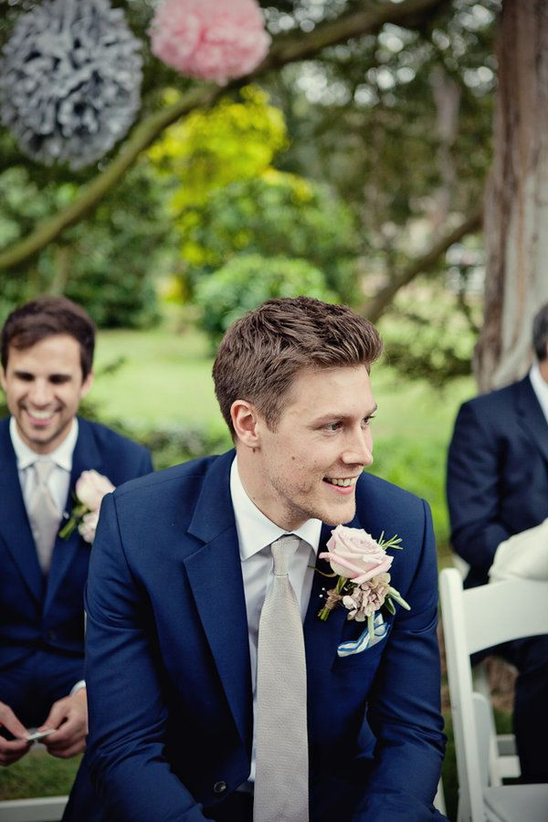 Navy Suit Groom With White Tie And Groomsmen With Grey Ties