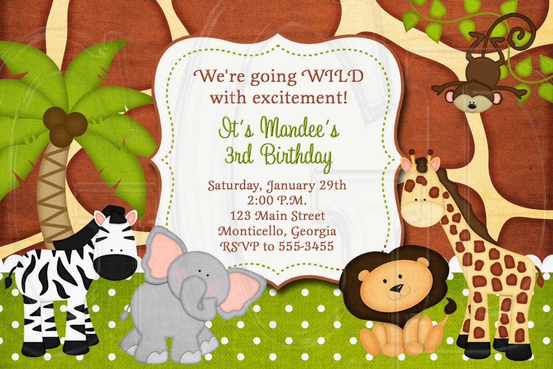 zoo safari birthday invitation